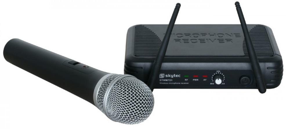 Central Microfone Mão UHF s/ Fios (STWM721) - Skytec