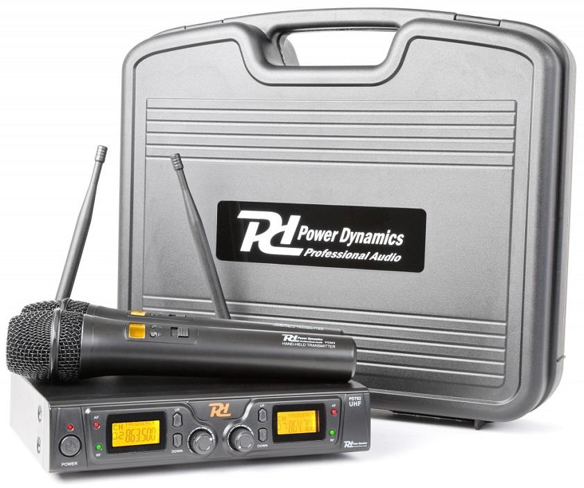 Central 2 Microfones Mão Profissionais UHF 8 Canais s/ Fios (PD782) - Power Dynamics