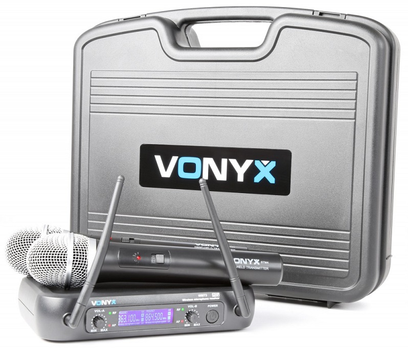 Central 2 Microfones Mão UHF 2 Canais s/ Fios (WM73) - VONYX