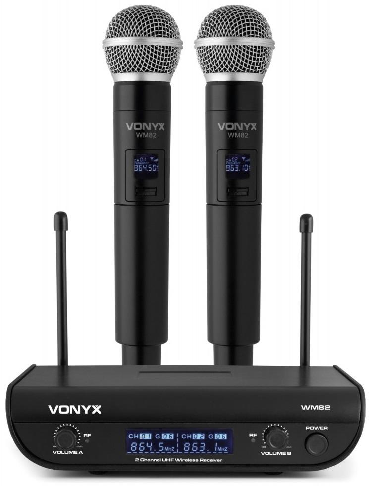 Central 2 Microfones Mão UHF 2 Canais s/ Fios (WM82) - VONYX