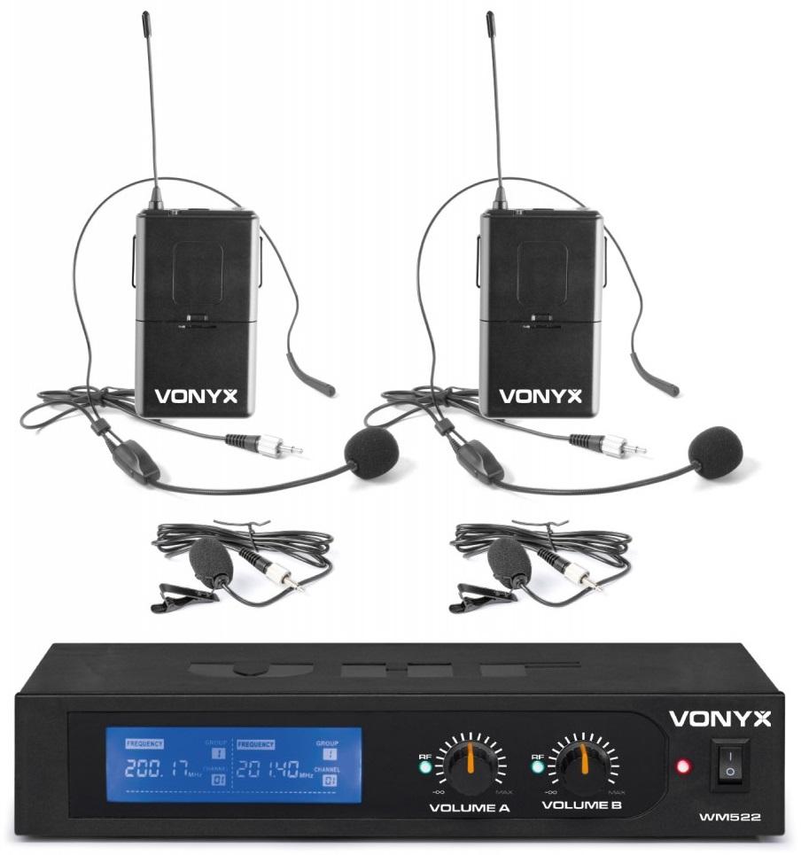 Central 2 Microfones Cabeça/Lapela VHF 2 Canais s/ Fios (WM522B) - VONYX