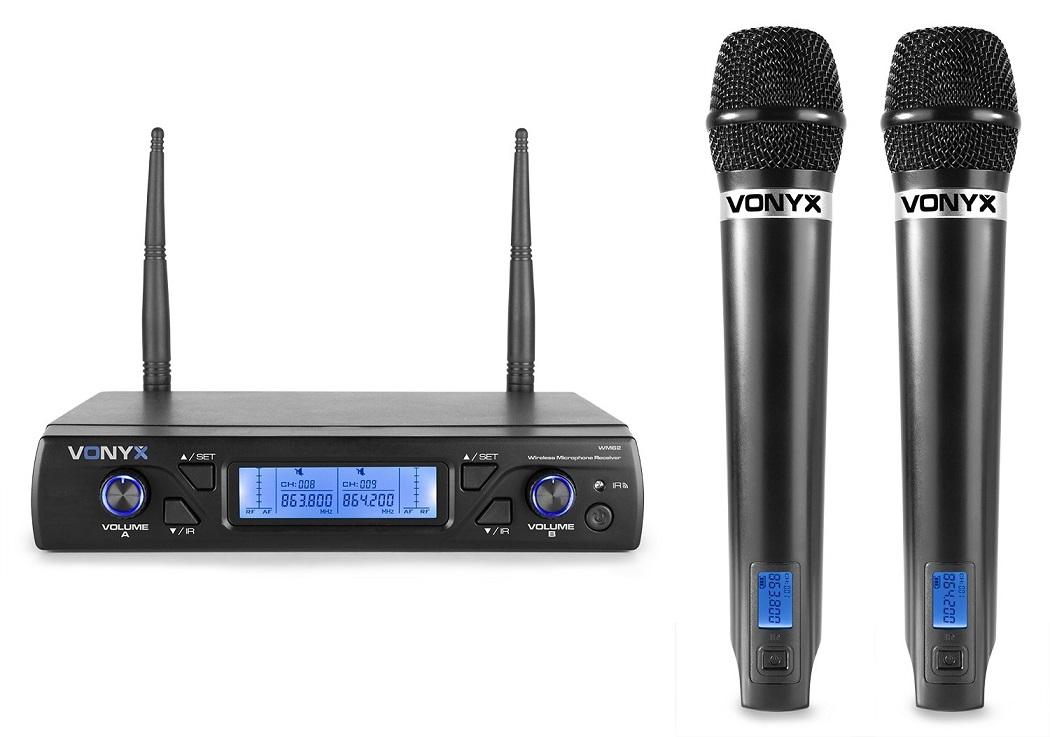 Central 2 Microfones Mão UHF 16 Canais s/ Fios (WM62) - VONYX