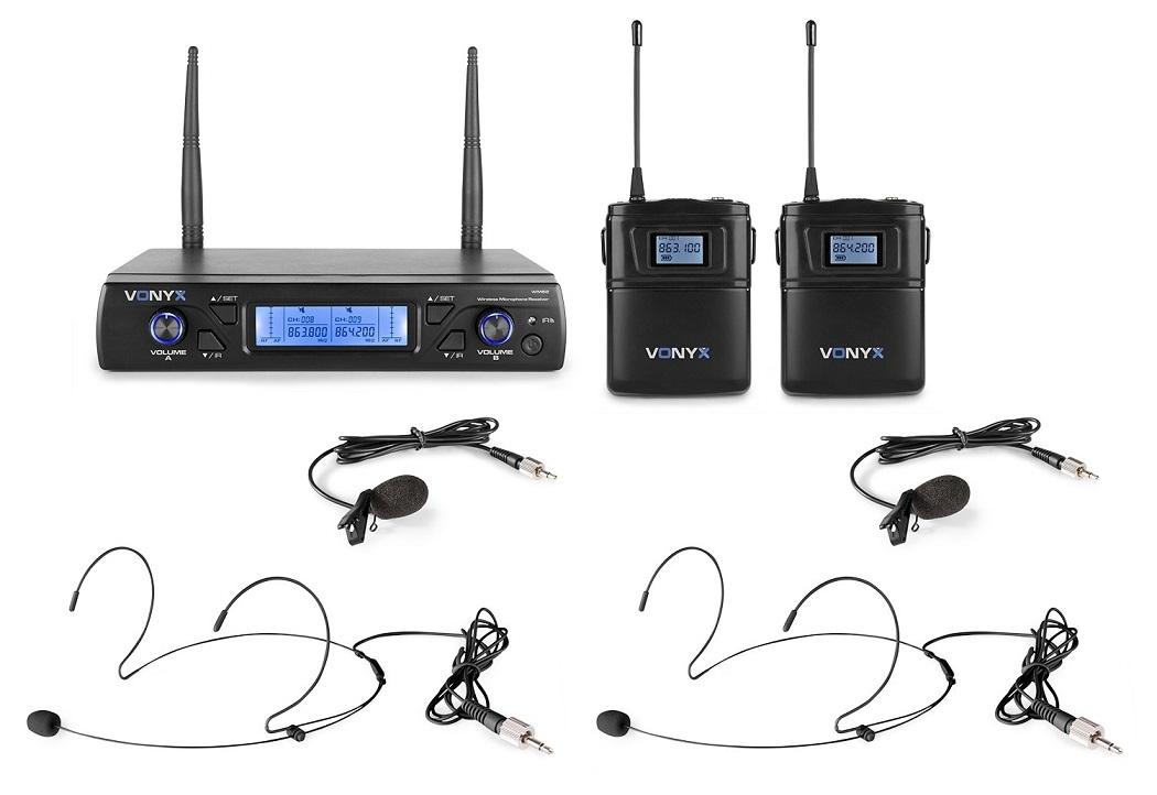 Central 2 Microfones Cabeça/Lapela UHF 16 Canais s/ Fios (WM62B) - VONYX
