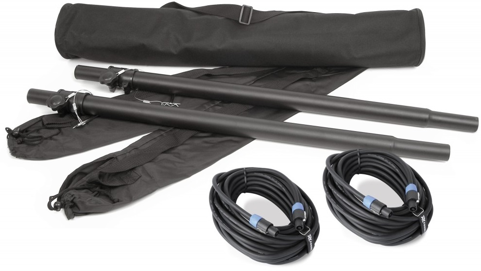 Pack 2x Tubos 90...150cm (Subwoofer/Satelite) + Cabos 2 mts - VONYX