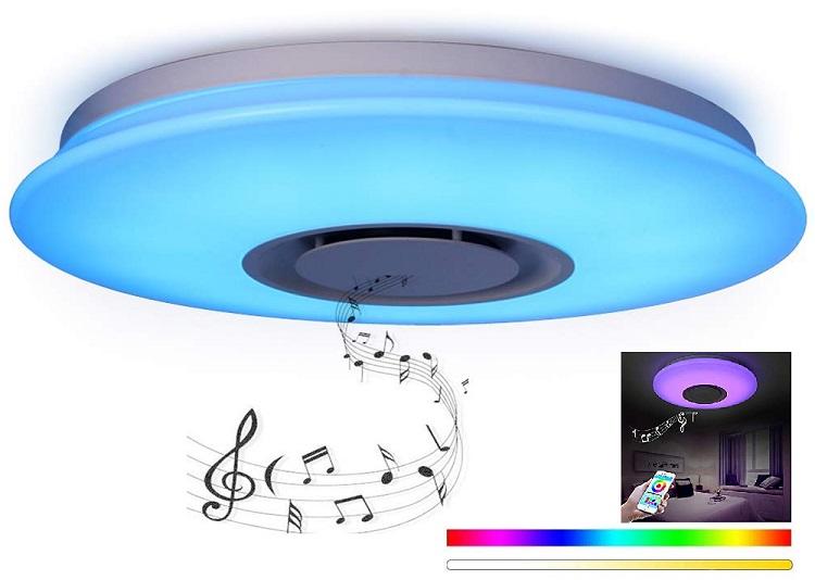 Candeeiro Plafon LED RGB 24W Dimável c/ Coluna Bluetooth Incorporada