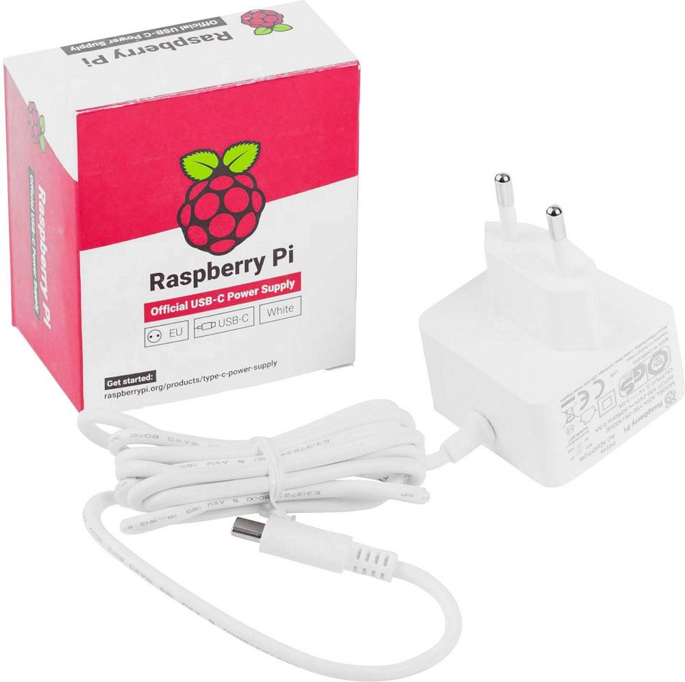 Alimentador 5.1V 3A USB-C Oficial p/ Raspberry Pi 4 Modelo B - Branco