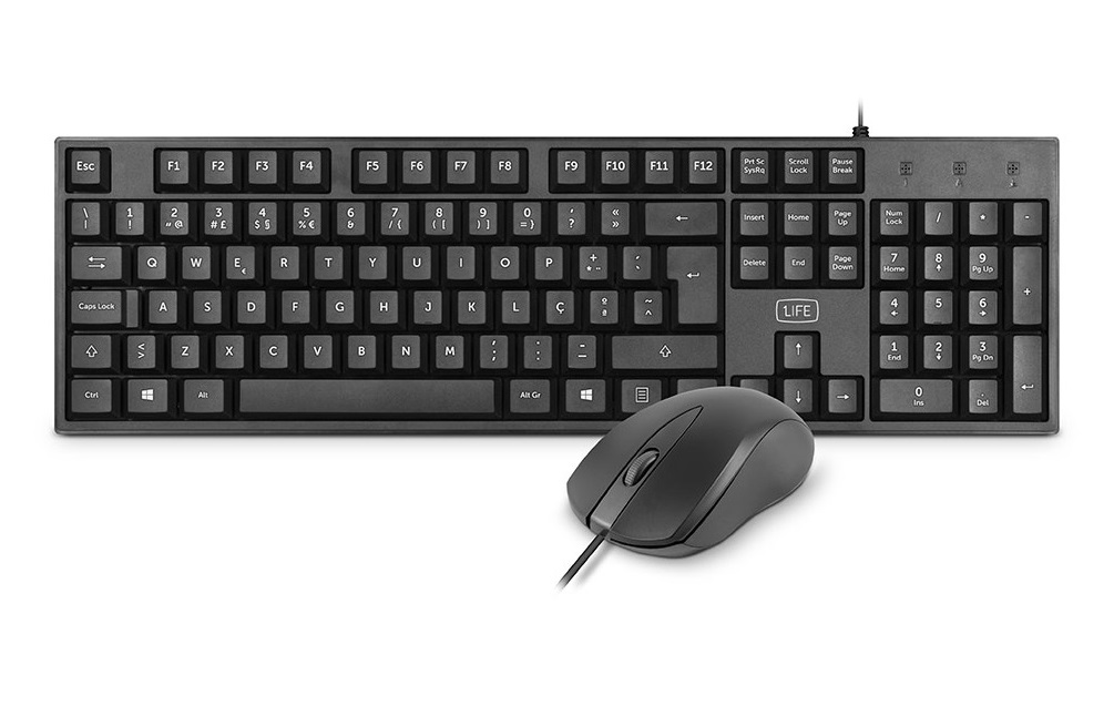 Kit USB Teclado + Rato Base (Preto) - 1LIFE