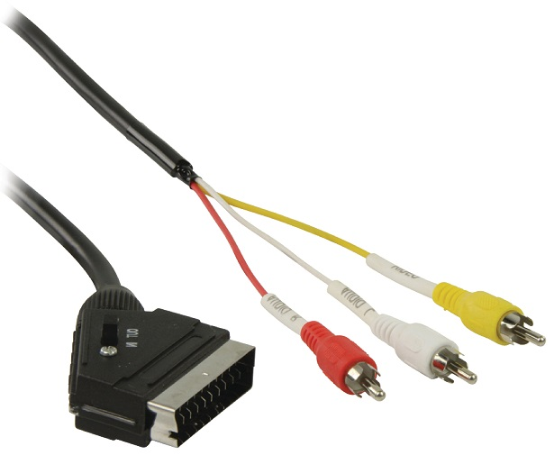 Cabo SCART 21 Pinos (IN-OUT) -> 3 RCA Macho - 2 mts