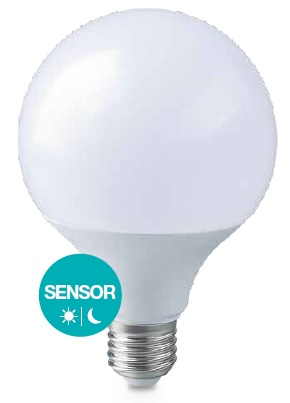 Lampada LED E27 G95 220V 12W Branco Q. 3000K 1155Lm c/ Sensor Crepuscular - GSC