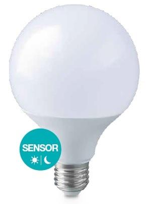 Lampada LED E27 G95 220V 12W Branco F. 6000K 1155Lm c/ Sensor Crepuscular - GSC