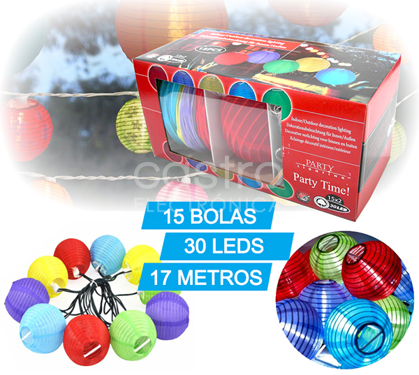 Grinalda de 15 Bolas Coloridas c/ Total 30 LEDs 220V (17 mts) - ProFTC