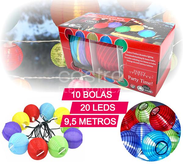 Grinalda de 10 Bolas Coloridas c/ Total 20 LEDs a Pilhas (9,5 mts) - ProFTC