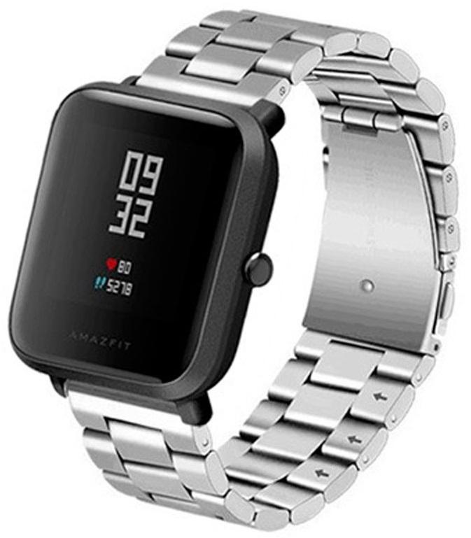 Correia Met. Elos (Prateado) p/ Xiaomi Amazfit GTS/Bip/Bip Lite/ GTR 42mm/Ticwatch/Huawei/Samsung/..