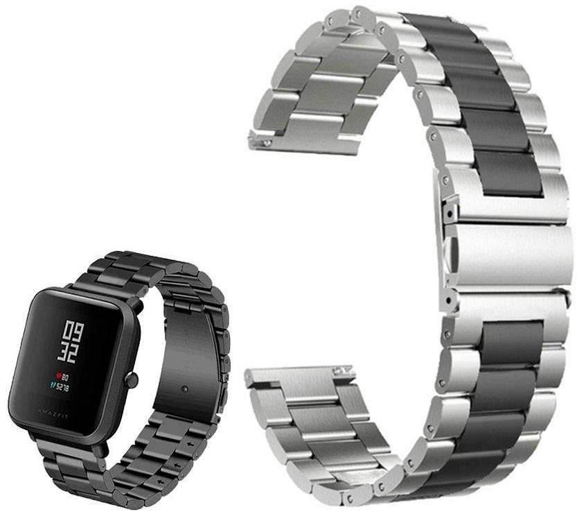 Correia Met. Dual Elos (Preto) p/ Xiaomi Amazfit GTS/Bip/Bip Lite/ GTR 42mm/Ticwatch/Huawei/Samsung/