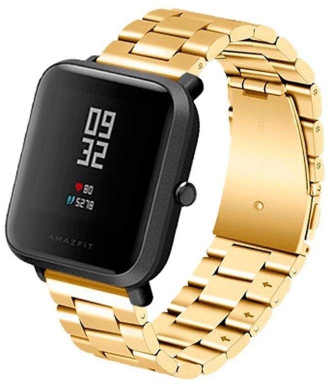 Correia Met. Elos (Dourado) p/ Xiaomi Amazfit GTS/Bip/Bip Lite/GTR 42mm/Ticwatch/Huawei/Samsung/...