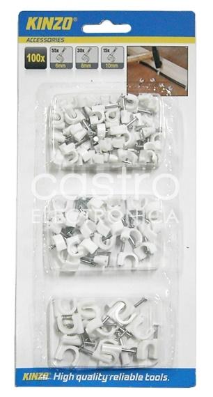 Pack Abraçadeiras Diversas c/ Prego 6/8/10mm (100 pcs) - KINZO