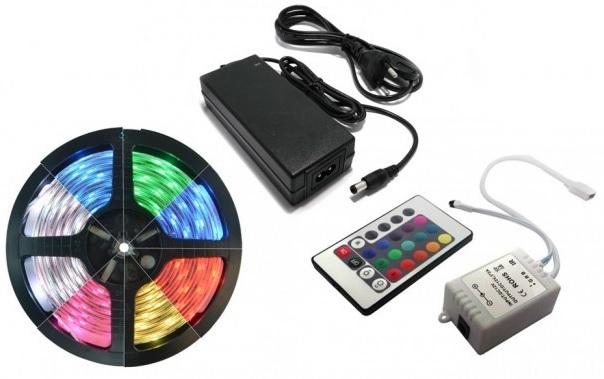 Pack Fita 300 LEDs IP65 RGB (5 mts) 12V + Controlador + Fonte Alimentação - ProFTC