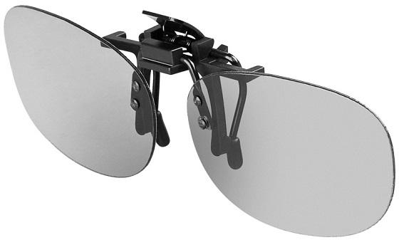 Lentes 3D c/ Clip para Óculos Convencionais p/ Uso em TVs 3D