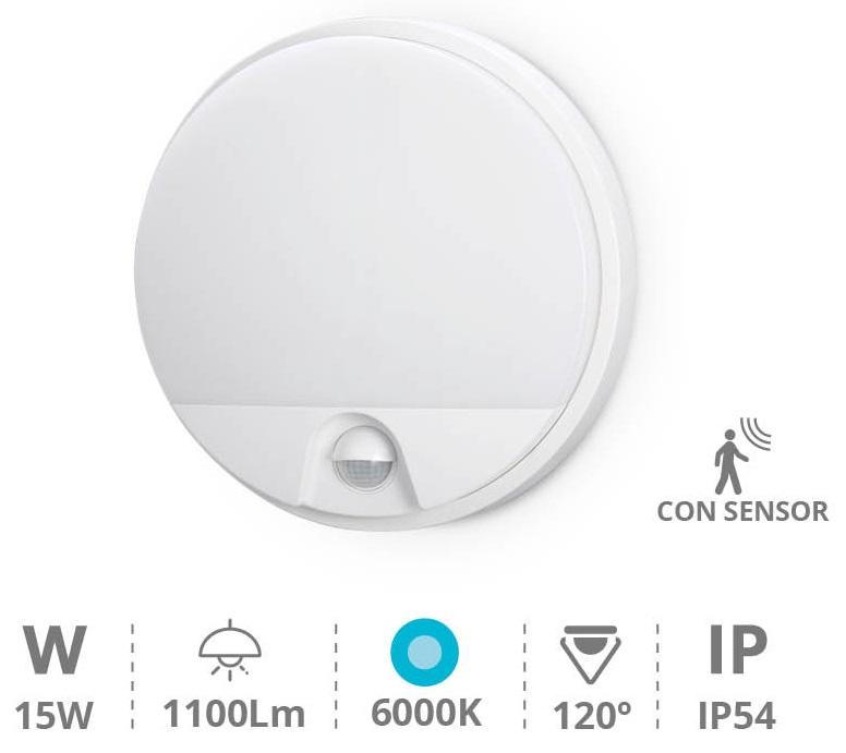 Candeeiro Interior/Exterior Redondo LED 15W 6000K 1200Lm c/ Sensor Movimento PIR (IP54) - GSC