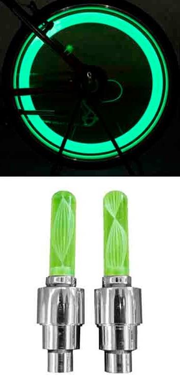 Pack 2 Lampadas NEON Sinalizadoras Verde p/ Rodas Veiculos (Carro, Mota, Bicicleta, ...) - EDM