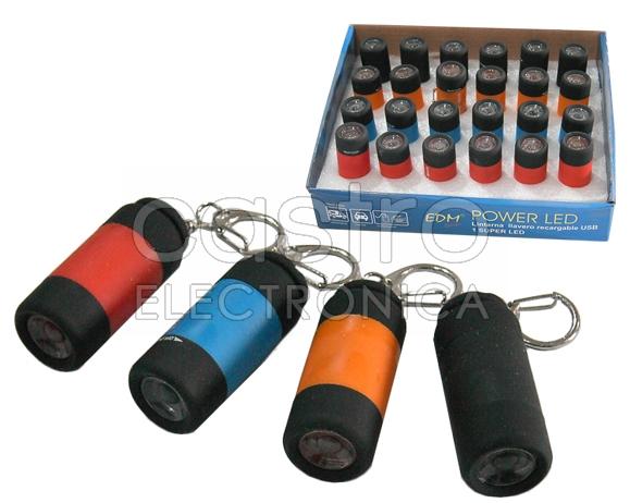 Lanterna Porta-Chaves c/ 1 SUPER LED (Recarregável USB) - EDM