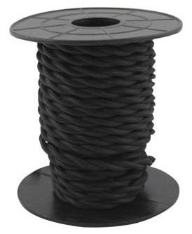 Bobine Cabo Eléctrico Têxtil Trançado 2x 0,75mm Preto (10 mts) - GSC