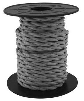 Bobine Cabo Eléctrico Têxtil Trançado 2x 0,75mm Cinza Escuro (10 mts) - GSC