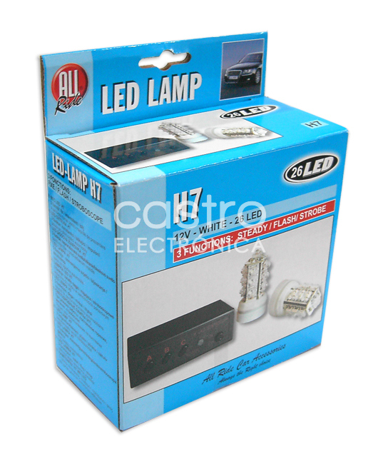 Kit 2x Lampadas LED H7 12V 35W 6000K c/ 3 Funções (ESTÁVEL/FLASH/STROBE) - ALL Ride