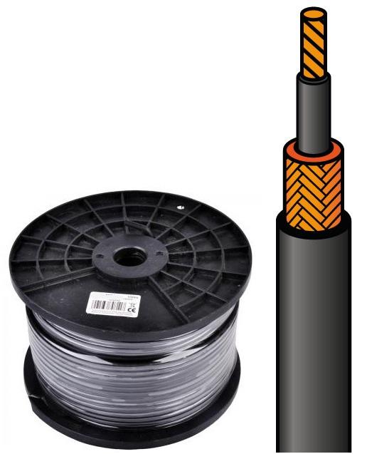 Bobine Cabo Microfone (6mm) Mono 1 Condutor + Malha  (100 mts)