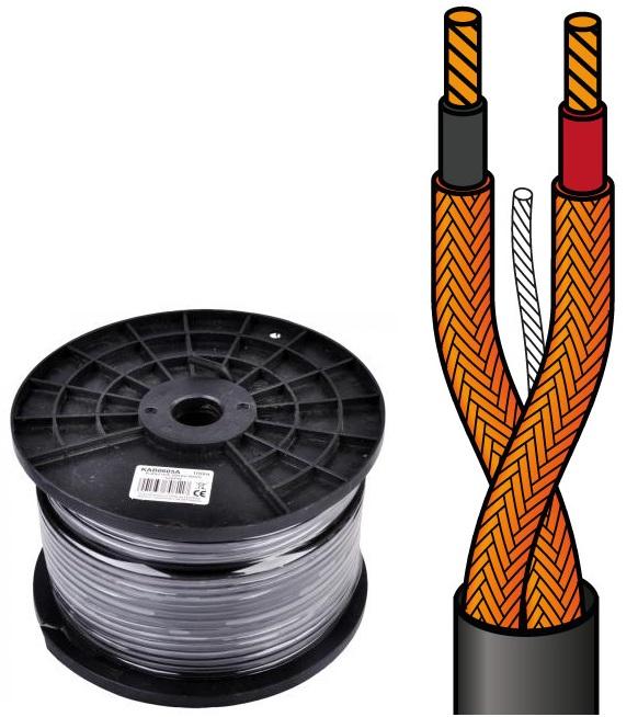 Bobine Cabo Microfone Stereo 2 Condutores + Malha (100 mts)