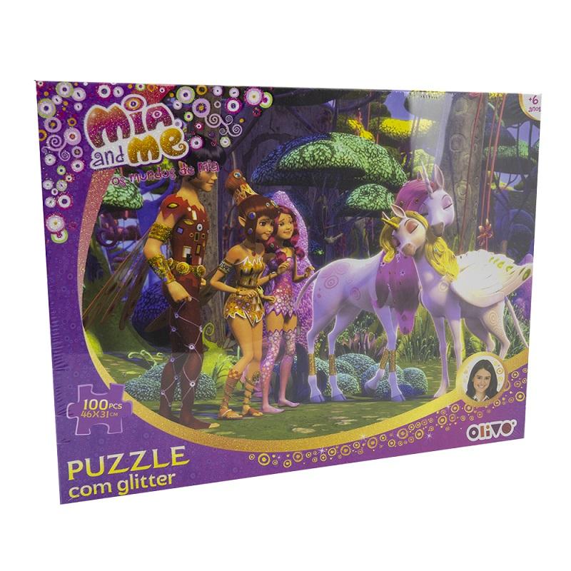 Puzzle Os Mundos de Mia c/ Glitter (100 Peças) - ProFTC