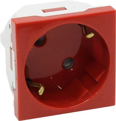 Tomada 2P+T SCHUKO c/ Obturador 16A 250V (Vermelho) Série Quadro 45 - EFAPEL