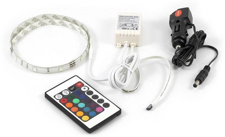 Pack Fita 30 LEDs IP65 RGB (1 metro) 12/24V + Controlador + Cabo Alimentação Isqueiro - ALL Ride