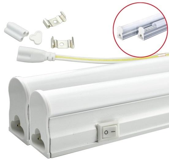 Armadura LED T5 8W 220V 4000K 900Lm Opalina c/ Interruptor (60cm)