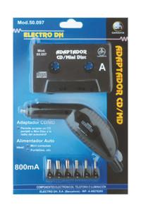 Kit Cassete Adaptadora CD-MD-MP3 c/ Alimentador Isqueiro p/ Carro