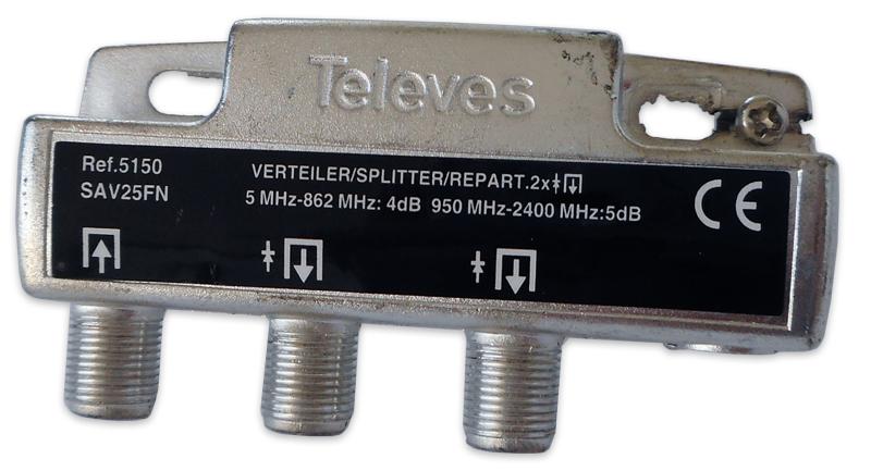 Repartidor Interior (5-2400MHz) 2 Saídas 4dB F DC - TELEVES