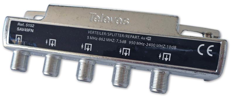 Repartidor Interior (5-2400MHz) 4 Saídas 8dB F DC - TELEVES