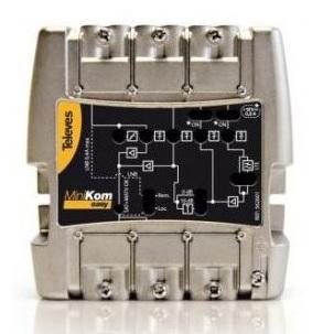 Amplificador MiniKom MATV+FI 4E/1S EasyF: FM-VHF-UHF-FI - TELEVES