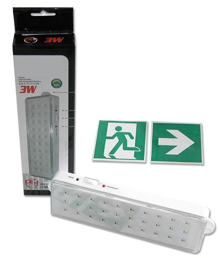 Armadura Saída Emergência 3W (30 LEDs) Recarregável - NÃO-PERMANENTE