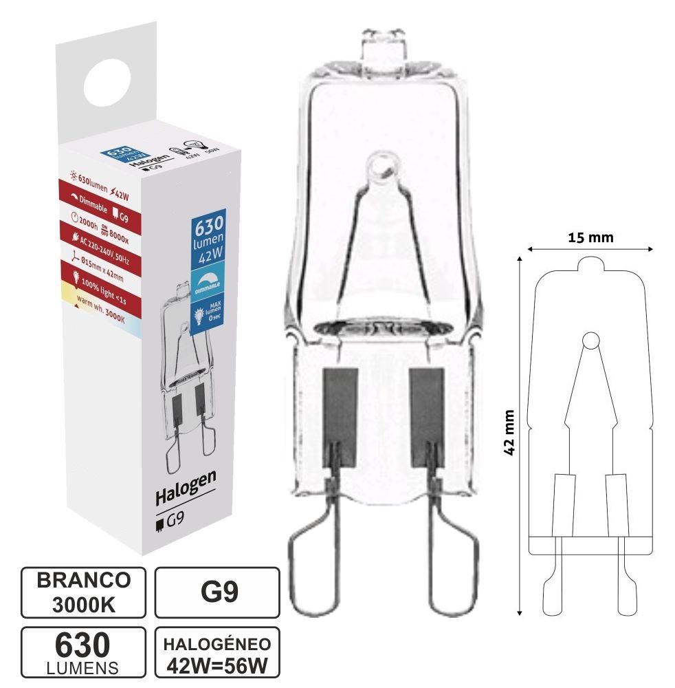 Lampada Halogéneo G9 220V 42W(=56W) 630Lm - AVIDE