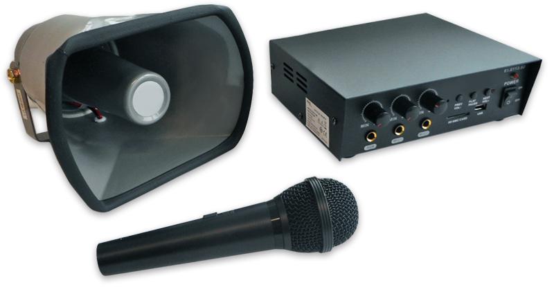 Pack Amplificador PA 30W RMS 12/220V + Corneta 25W RMS + Microfone - ProFTC