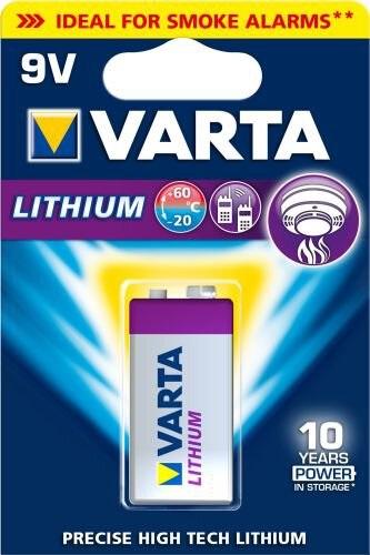 Pilha de Litio Alta Duração (8 a 10 anos) 9V 1200mAh - VARTA