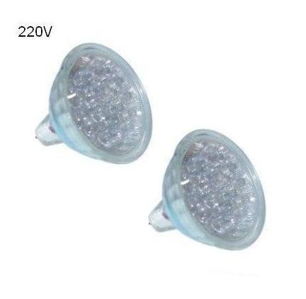 Blister 2x Lampadas 15 LEDs MR16 220V 1,2W Vermelho