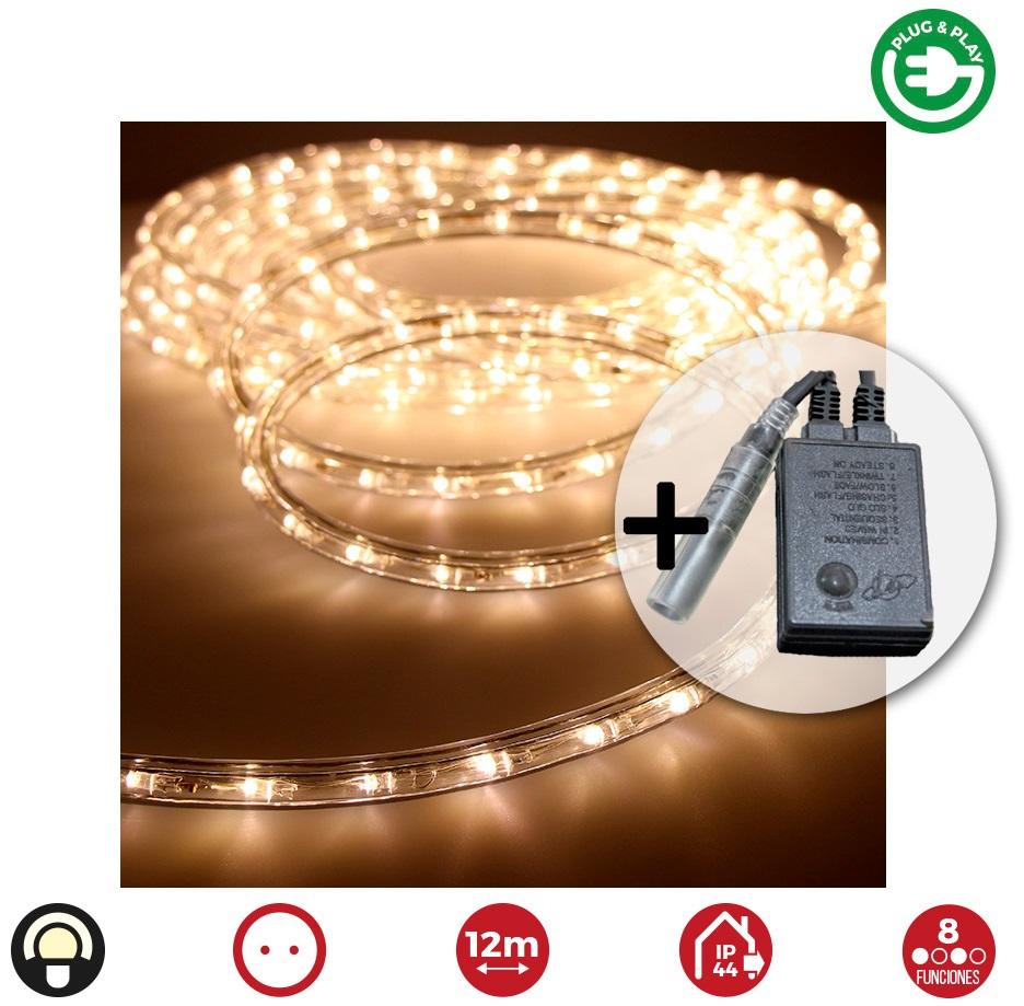 Kit Mangueira Luminosa LED Branco Q. 3000K Multifunções Interior-Exterior c/ Controlador (12 mts)