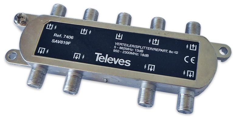 Repartidor Interior (5-2400MHz) 8 Saídas 18dB F DC - TELEVES