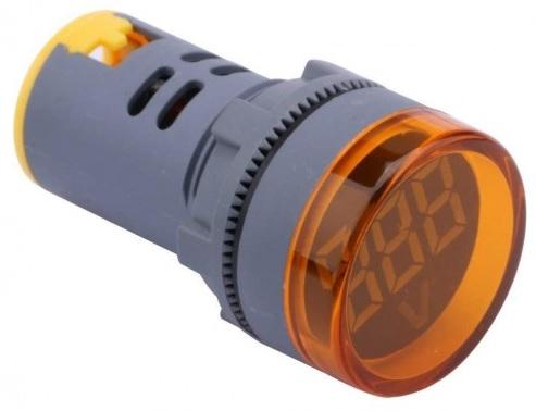 Voltímetro Digital LED Redonto Amarelo p/ Painel (12...500V AC) - ProFTC