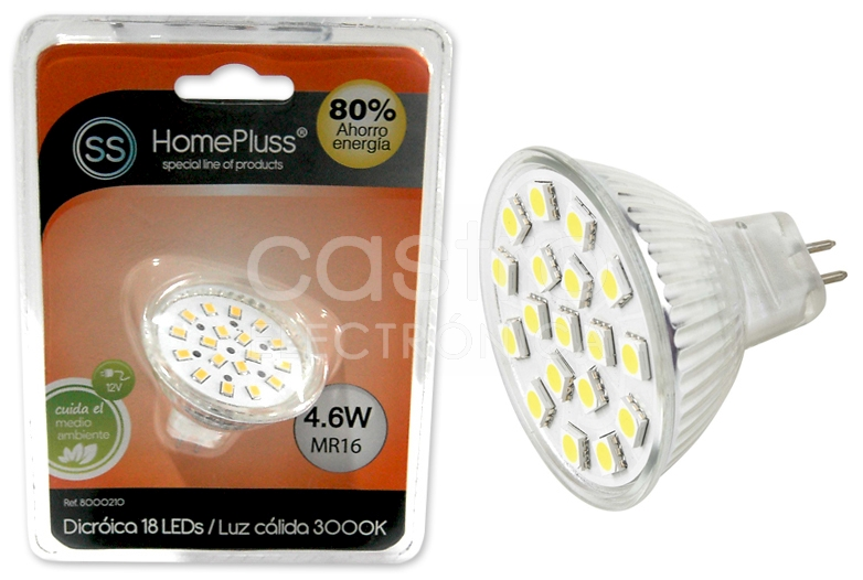 Lampada LED 12V MR16 4,6W Branco Q. 3000K 320Lm