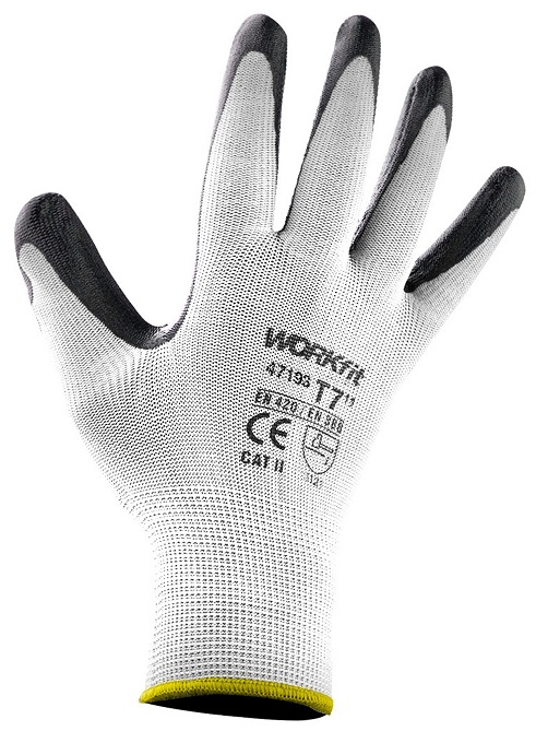 Par Luvas de Protecção em Nylon e Revestimento Nitrilo Branco (Tamanho 7) - WORKFIT