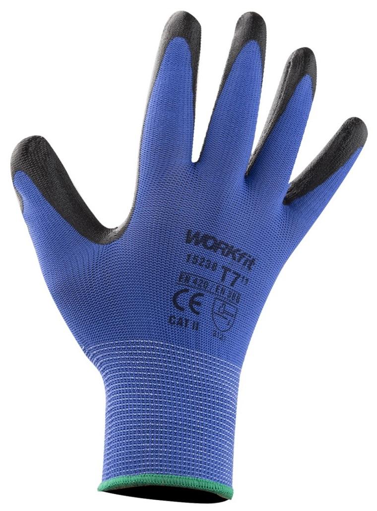 Par Luvas de Protecção em Nylon e Revestimento Nitrilo Azul (Tamanho 8) - WORKFIT