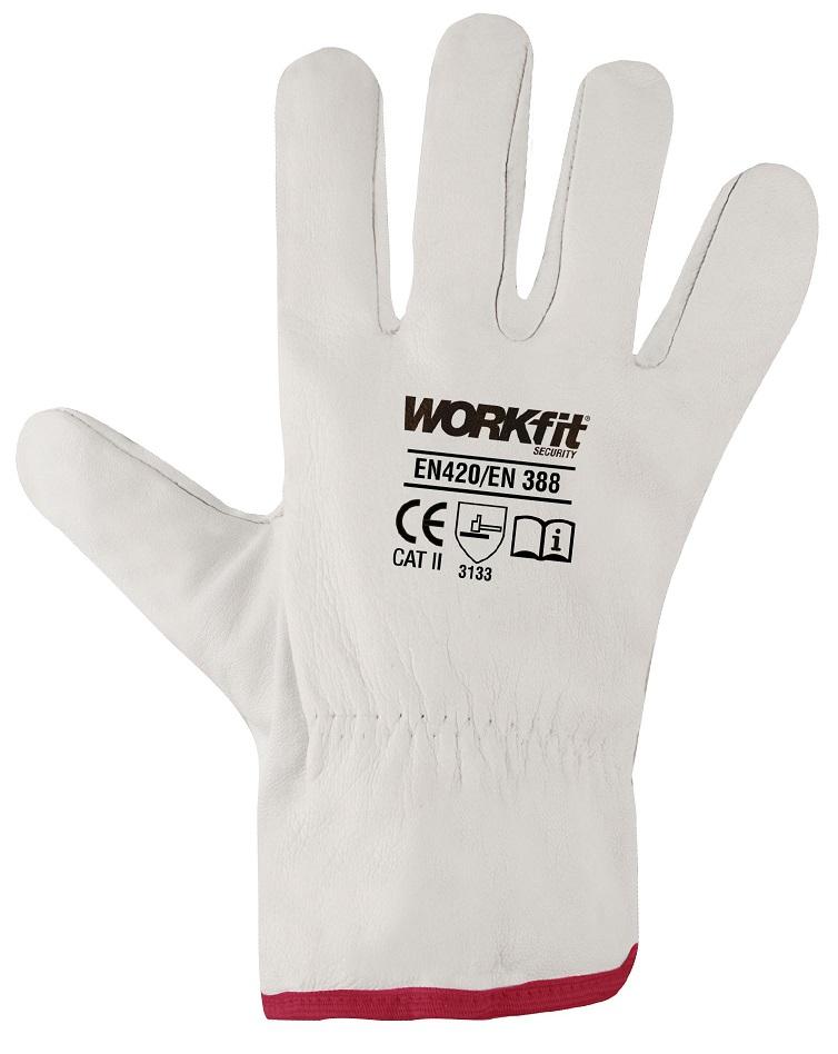 Par Luvas de Protecção em Couro Branco (Tamanho 8) - WORKFIT